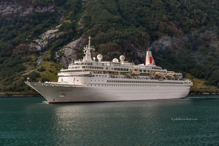 Het cruiseschip Boudicca in het Geirangerfjord