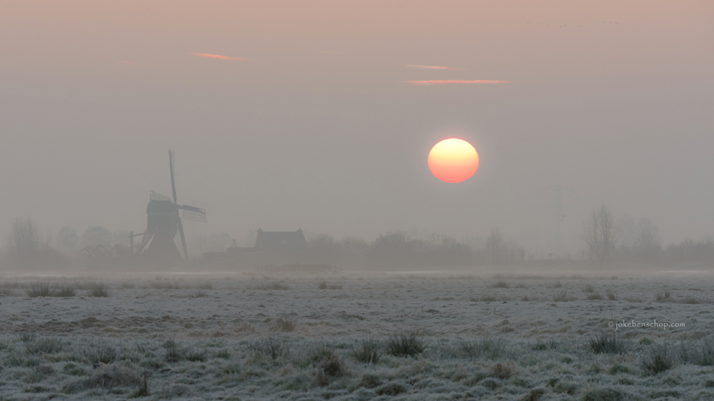 Oukoopse molen bij zonsopkomst in Bodegraven-Reeuwijk