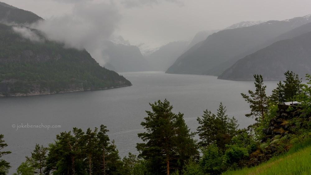 Uitzicht over het Fjord bij Eidfjord