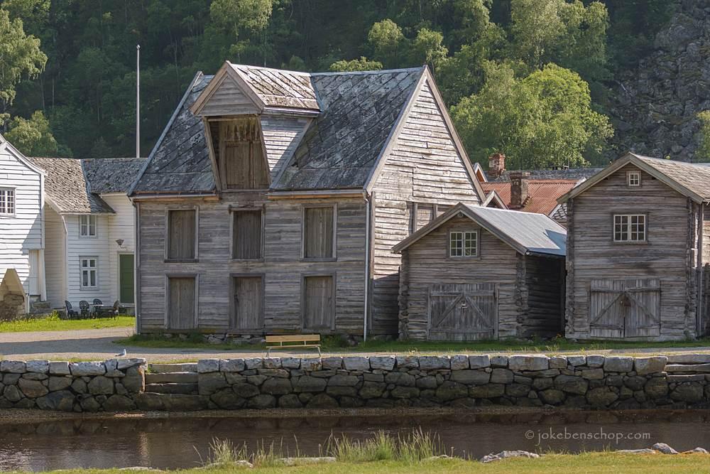 De houten huisjes inLærdalsøyri Norway