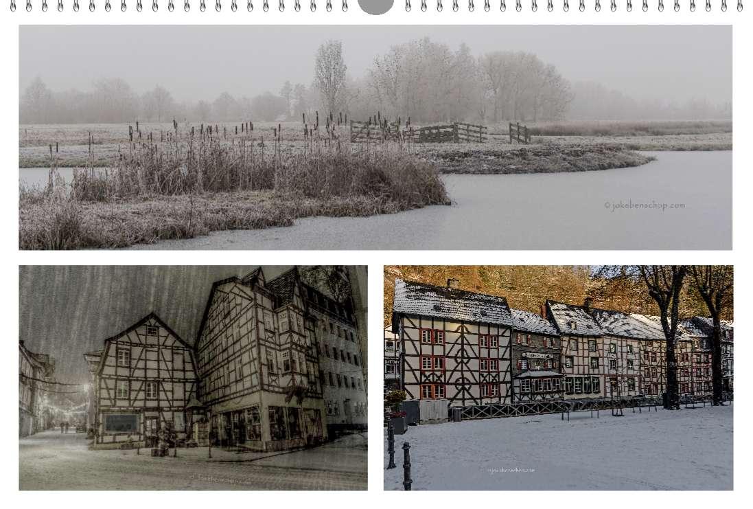 Polderzicht Reeuwijk, Avond sneeuwbui in Monschau, Markplein van Monschau